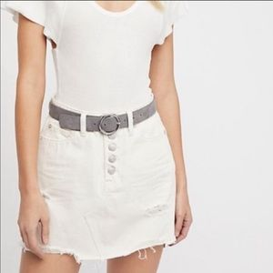 Free People Exposed Button A Line Denim Skirt 29